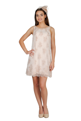 Ivory Embroidered Dress-0