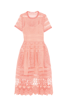 Alanna Peach Lace Dress -0