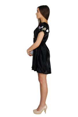 Sleeve-decorated Velvet Dress -1