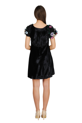 Sleeve-decorated Velvet Dress -2