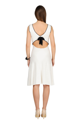White Bow Knitted Dress-2