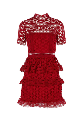 Red Star Lace Dress-0