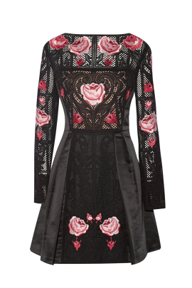 Embroidered Black Silk Dress -4