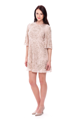 Embellished Chiffon Mini Dress-0