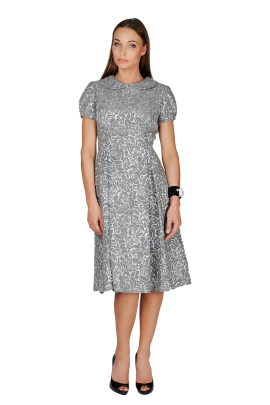 Grey Wool Ornamented Dress-0