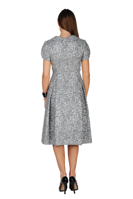 Grey Wool Ornamented Dress-2