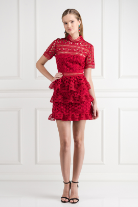 Red Star Lace Dress / VILNIUS-0