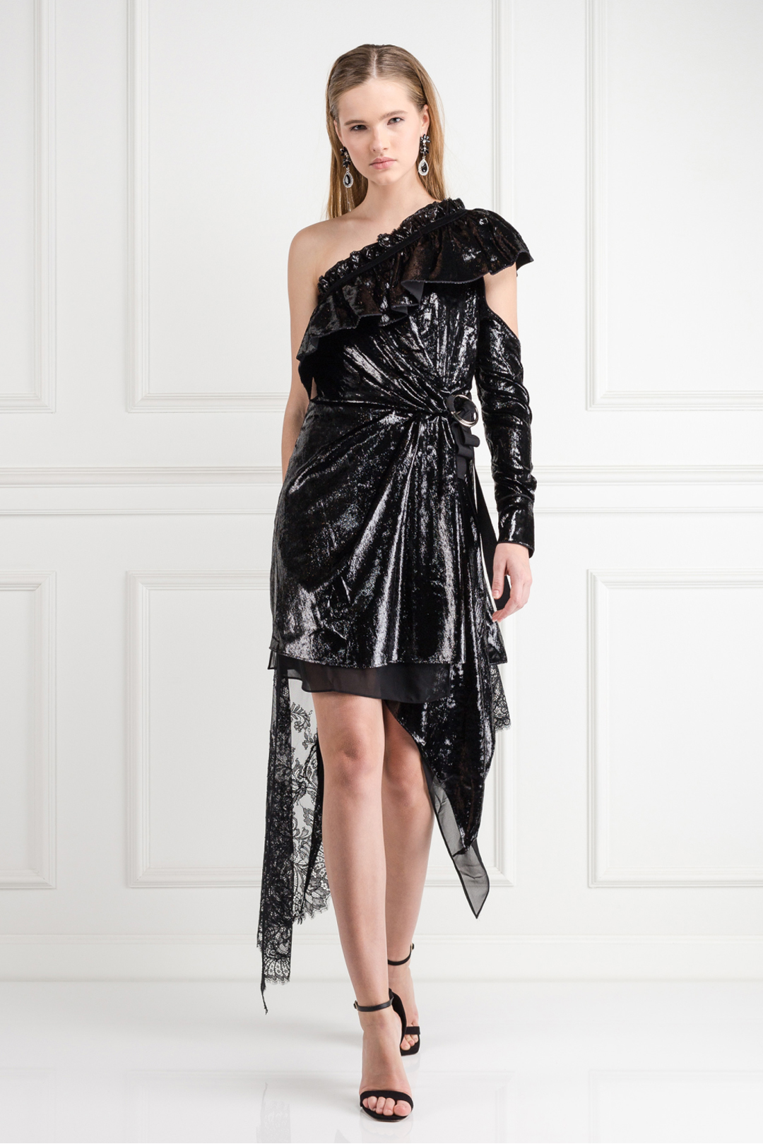 Metallic Velvet Wrap Dress