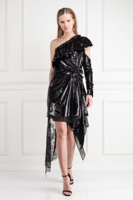 Metallic Velvet Wrap Dress-0