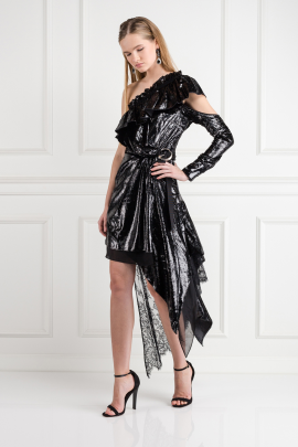 Metallic Velvet Wrap Dress-1