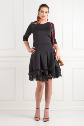 Black Lace Insert Dress-0