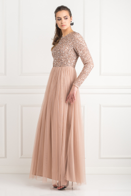 Dress With Sequin And Tulle Skirt-1