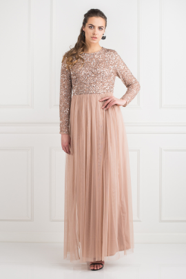 Dress With Sequin And Tulle Skirt-2