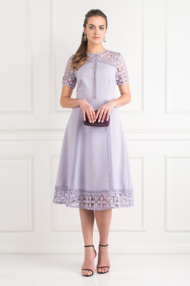 Lilac Lace Insert Dress-0