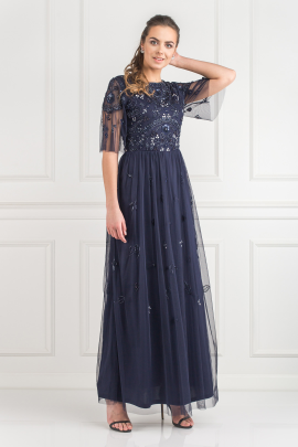 Navy Embellished Maxi Dress-0
