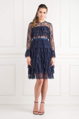 Navy Ruffle Midi Dress-0
