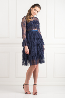 Navy Ruffle Midi Dress-1