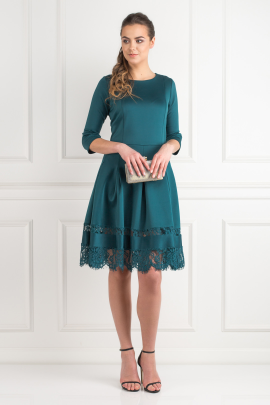 Pine Green Lace Insert Dress -0