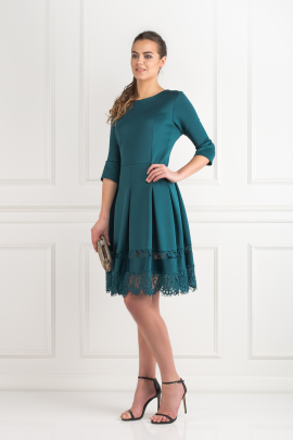 Pine Green Lace Insert Dress -1