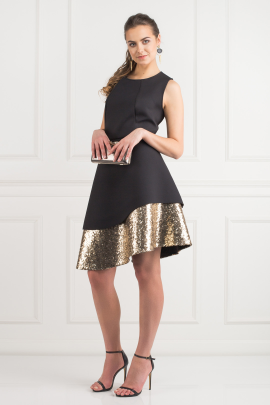 Sequin Bonded Pique Dress-1