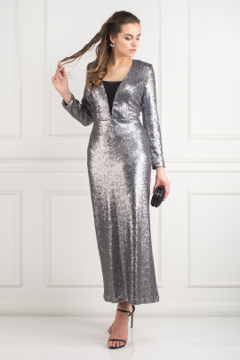 Silver Sequin Gown-0