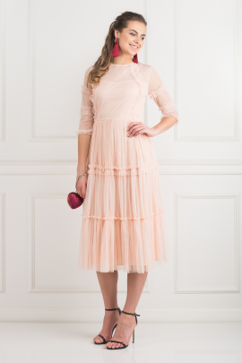 Tiered Sheer Tulle Dress-0