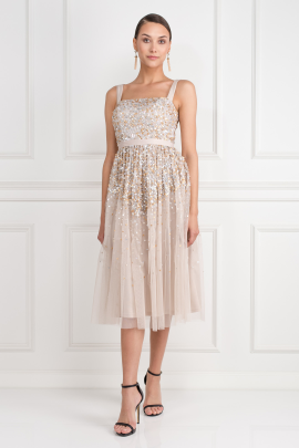Ombre Sequin Midi Dress-0
