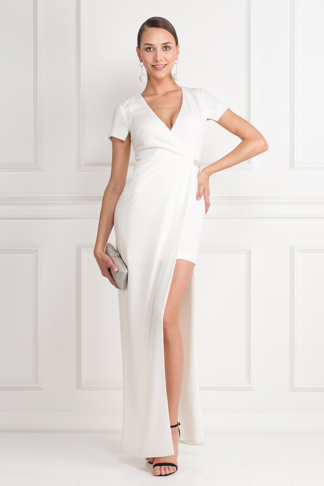 Asymmetric Crepe Wrap Gown