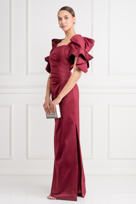 * Ruffled Satin Gown -1