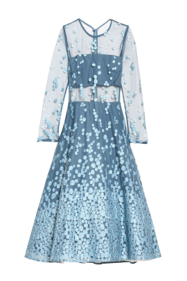 Sky Blue Embroidered Midi Dress-1