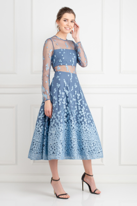 Sky Blue Embroidered Midi Dress-2