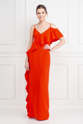 Dark Coral Crepe Gown-0