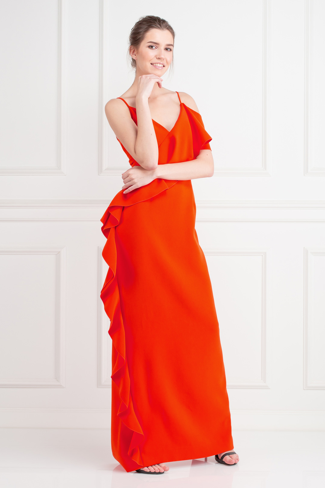 Dark Coral Crepe Gown