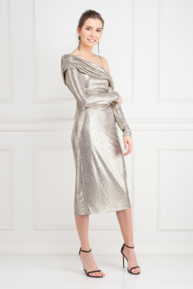Metallic Stretch-Jersey Dress-1