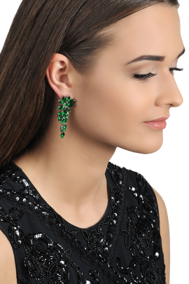 Green Flower Earrings-1