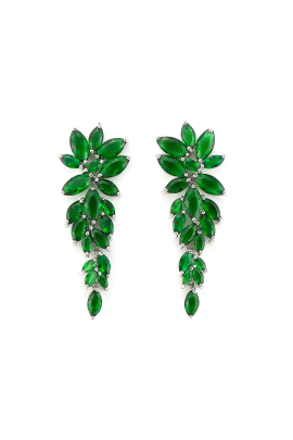Green Flower Earrings-0