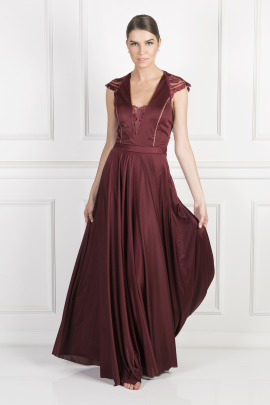 Burgundy Laced Jersey Gown-0