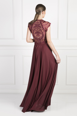 Burgundy Laced Jersey Gown-1