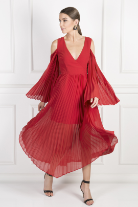 Red Pleated Midi Dress-0