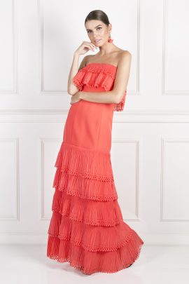 Off-Shoulder Coral Havana Dress-1