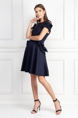 Ruffle Detail Navy Dress-1