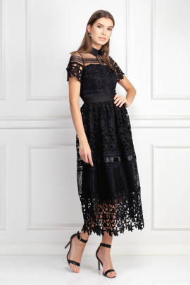 Black Guipure Dress-1