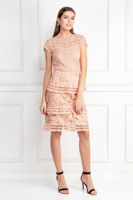 Dress With Tiered Lace Detailed Skirt-0