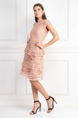 Dress With Tiered Lace Detailed Skirt-1