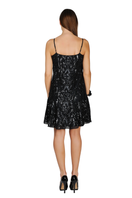 Ebony Sequined Crepe Dress-3