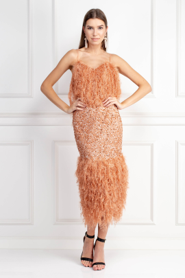 Feather Trim Sequin Midi Dress-1