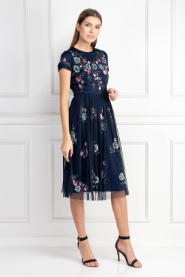 Navy Embellished Tulle Midi Dress-1