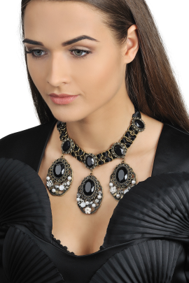 Satin Black Crystal Necklace-1