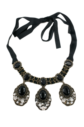 Satin Black Crystal Necklace-0