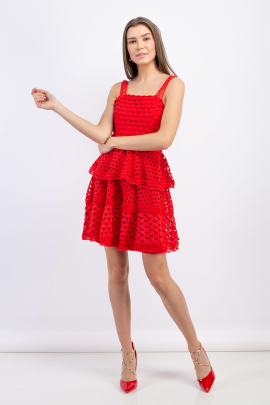 Rouge Tiered Mini Dress -0